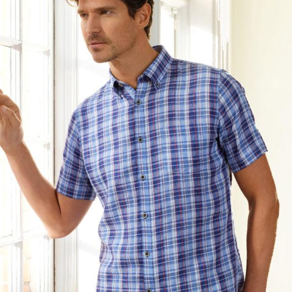 99109e0e406 Vedoneire Jackson Short Sleeve Linen Mix Shirt   Restoration Yard