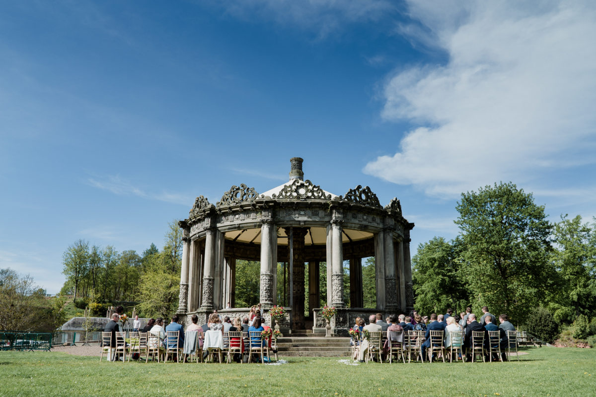 An outdoor wedding by the Orangerie at Restoration Yard, Dalkeith Country Park