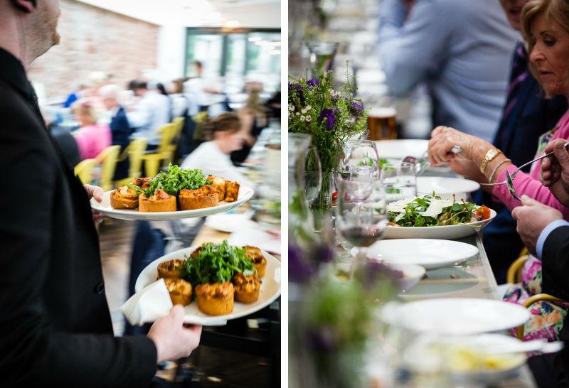 Wedding breakfast banquet being served at The Kitchen, Restoration Yard