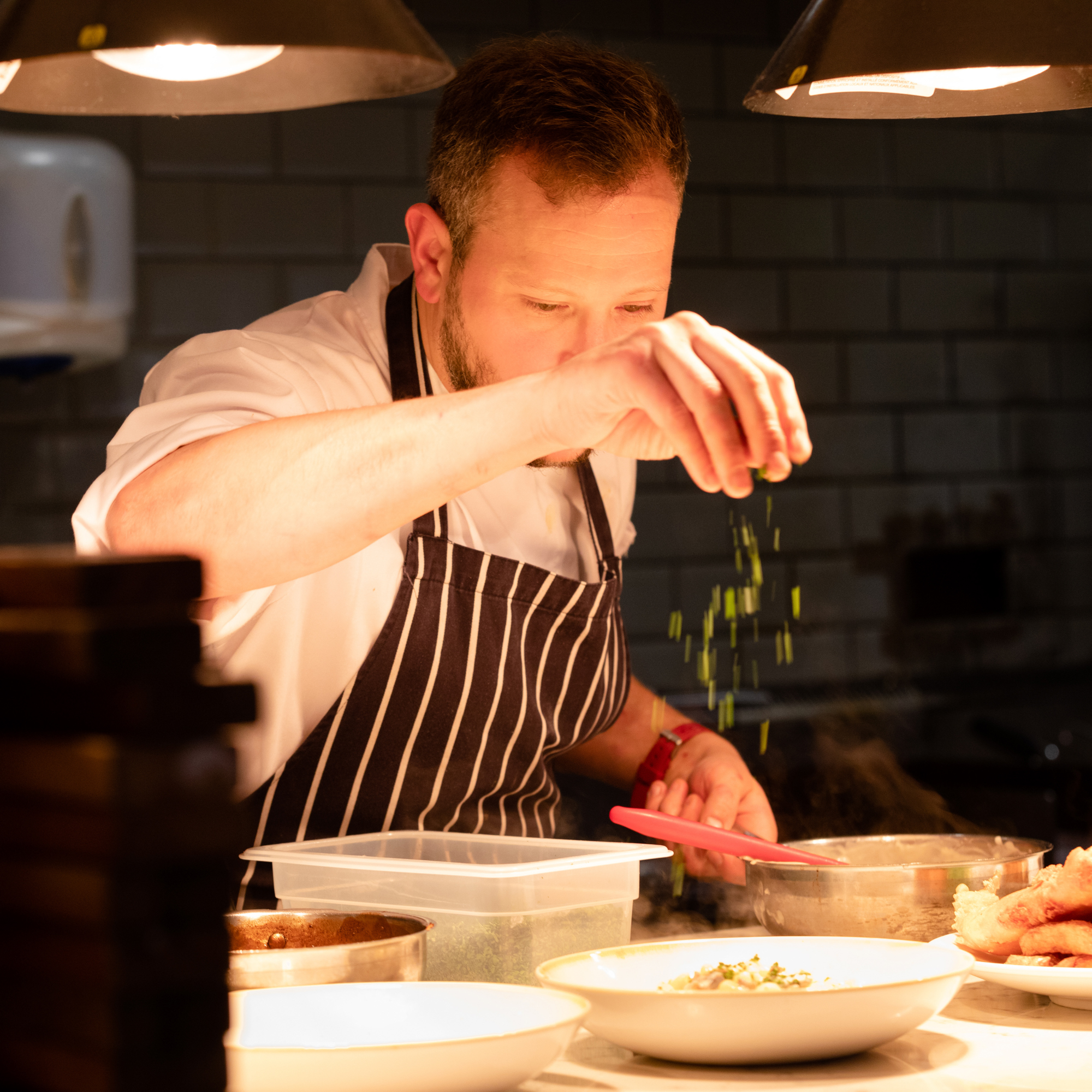 Chef in The Kitchen at Restoration Yard, Dalkeith, Near Edinburgh