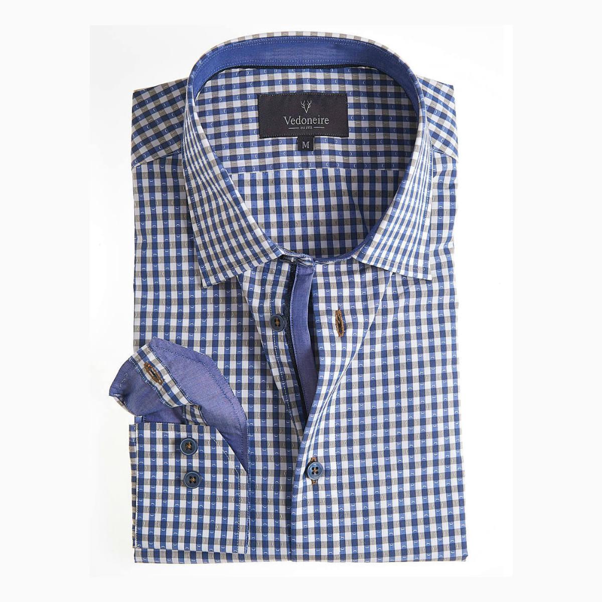 Vedoneire Dobby Blue shirt check