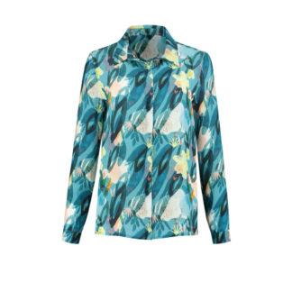 Pom Amsterdam Flower Play indigo blouse