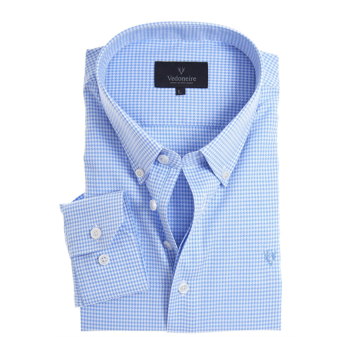 Vedoneire Soft Peach Finish Shirt houndstooth blue