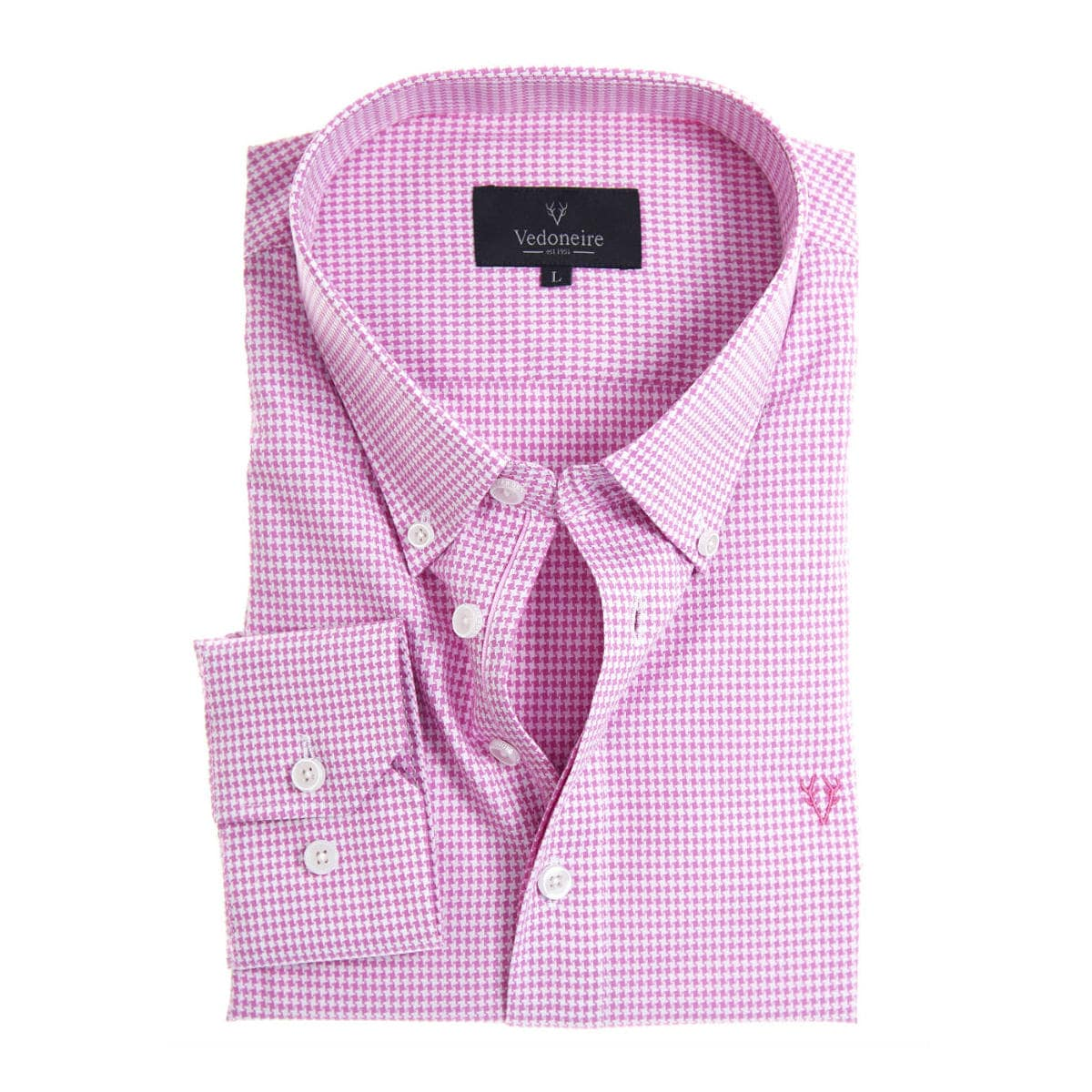 Soft Peach Finish Shirt houndstooth pink