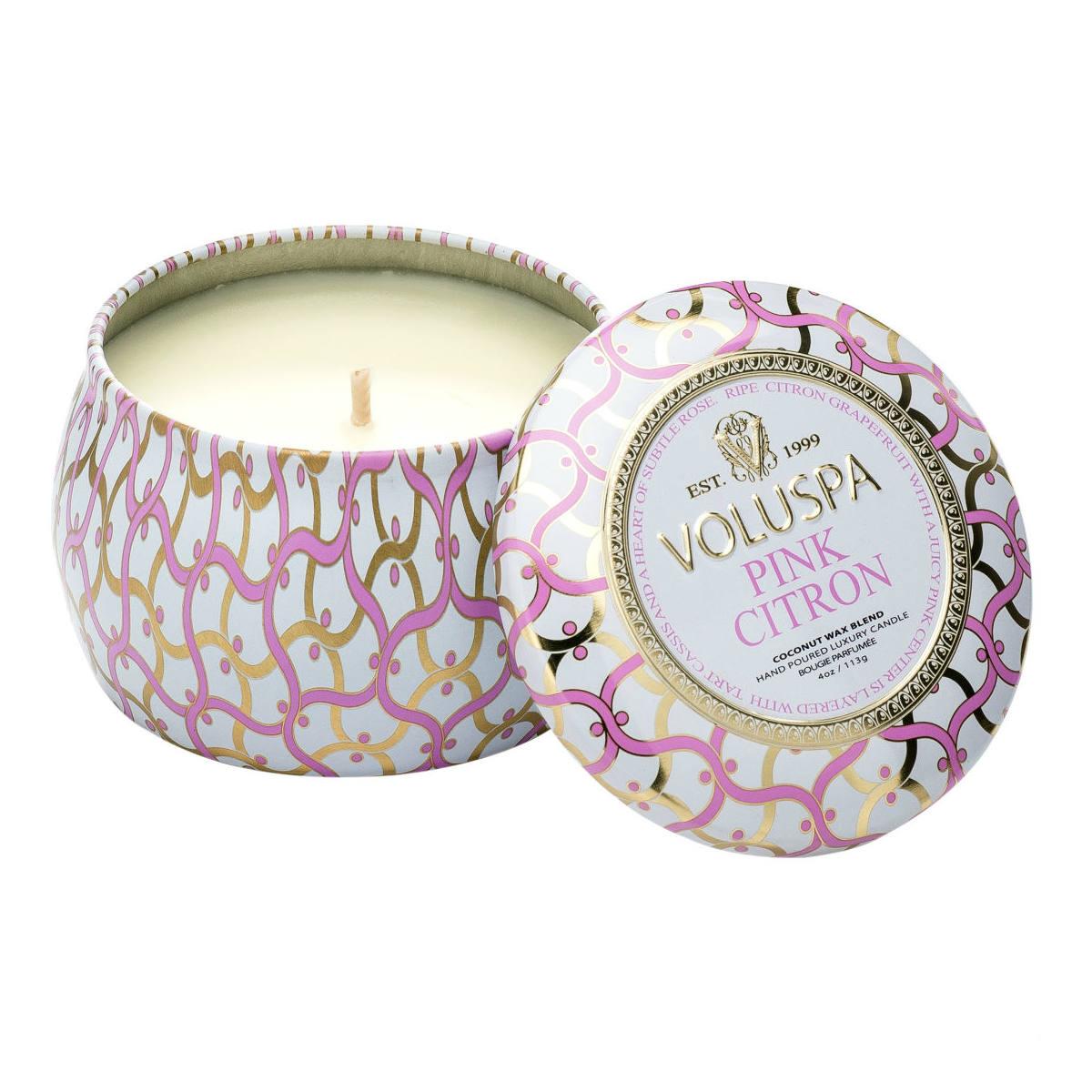 Blanc Pink Citron Mini Tin Candle By Voluspa | Restoration Yard