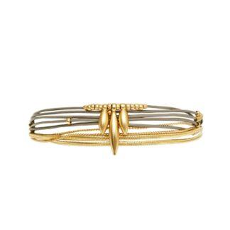 Dansk Copenhagen Daisy Bloom Leather Gold Bracelet | Restoration Yard