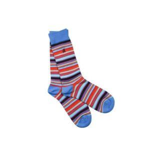 Blue & Red Narrow Striped Socks by Swole Panda   Restoration Yard