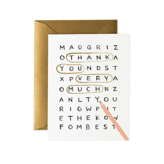 Rifle Paper Wordsearch Thank you Card