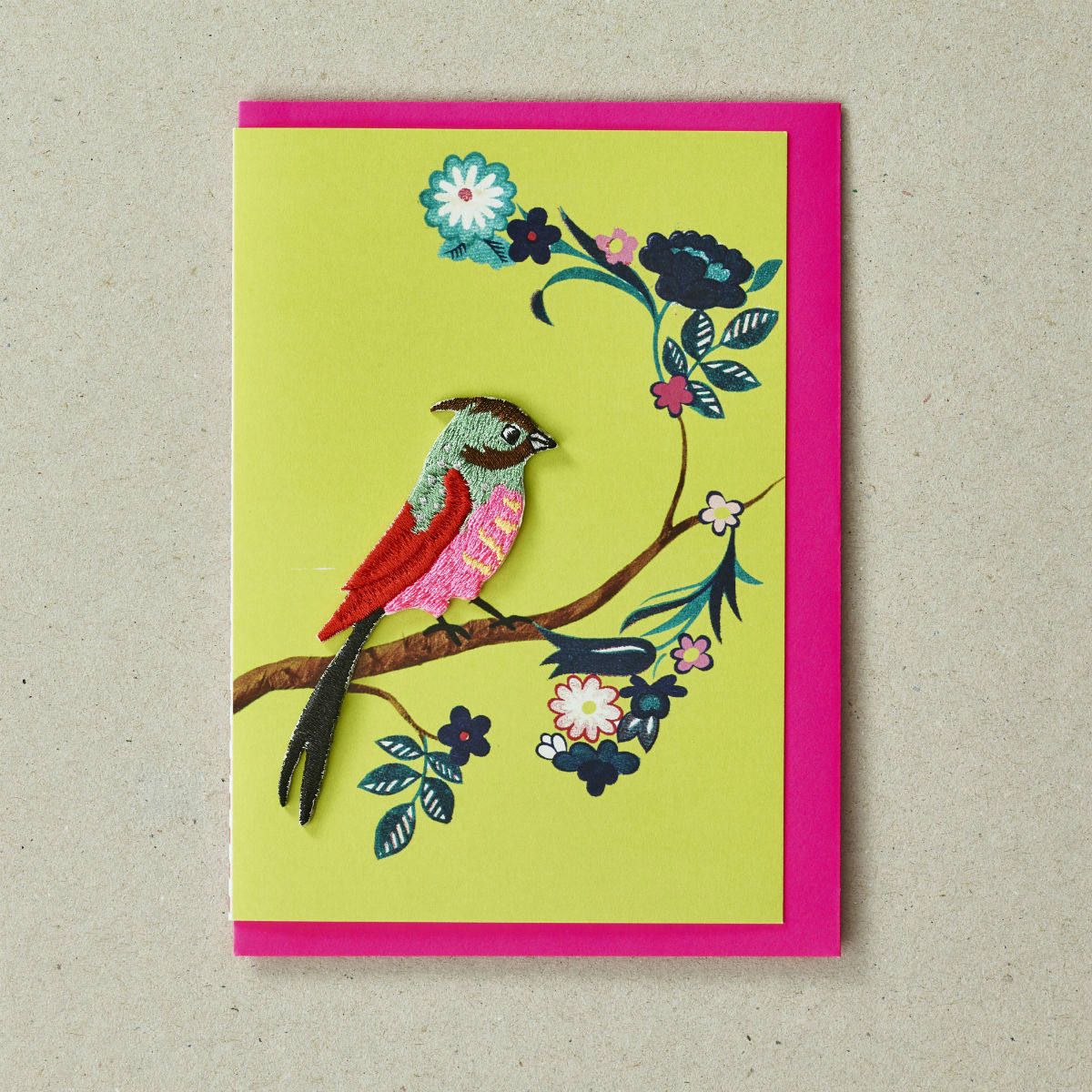 Embroidered Bird Blank Greeting Card by Petra Boase   Restoration Yard