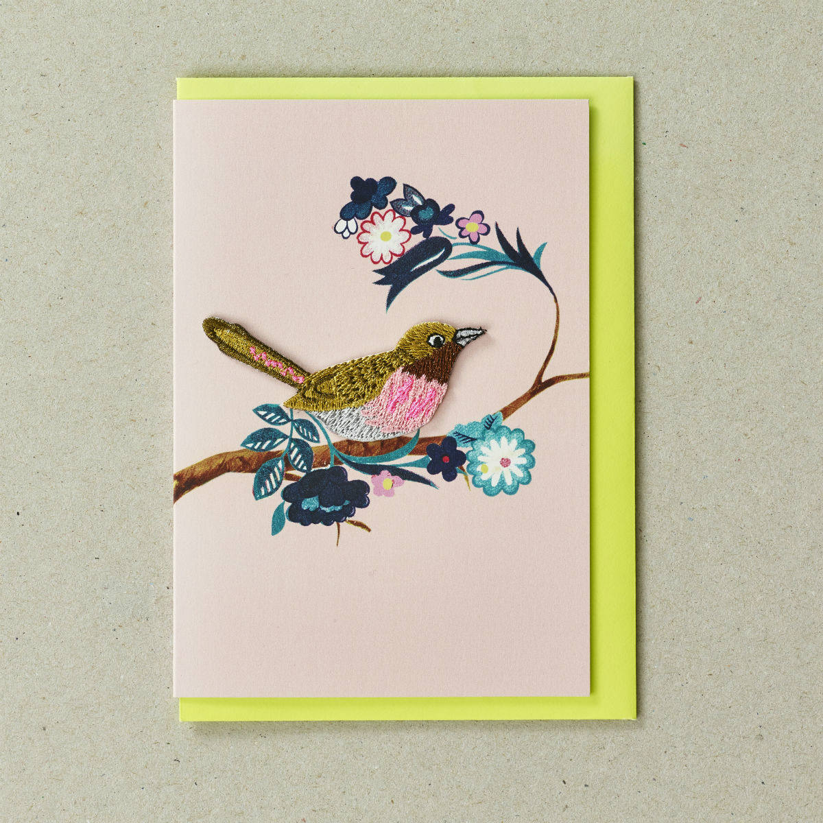 Embroidered Bird Greeting Card by Petra Boase   Restoration Yard