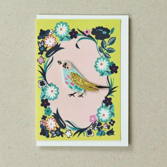 Petra Boase Bird Card in yellow and green