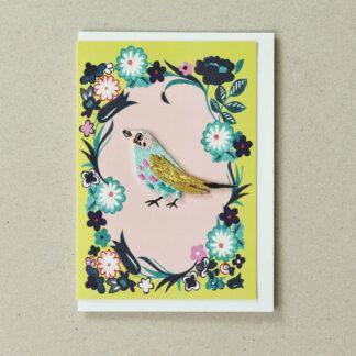 Bird Card Yellow Green Greeting Card by Petra Boase | Restoration Yard