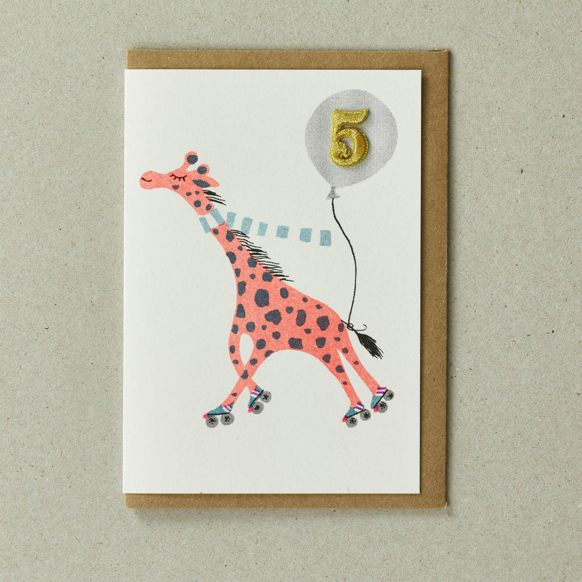 Giraffe Age 5 Greeting Card by Petra Boase   Restoration Yard