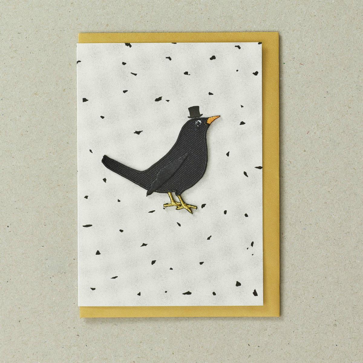 Embroidered Black Bird Greeting Card by Petra Boase | Restoration Yard