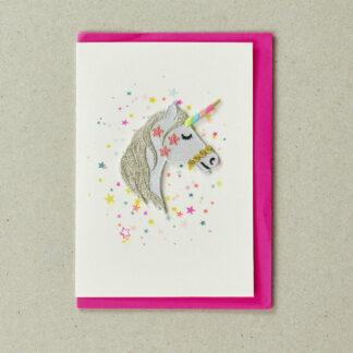 Patch Unicorn Head Greeting Card by Petra Boase | Restoration Yard