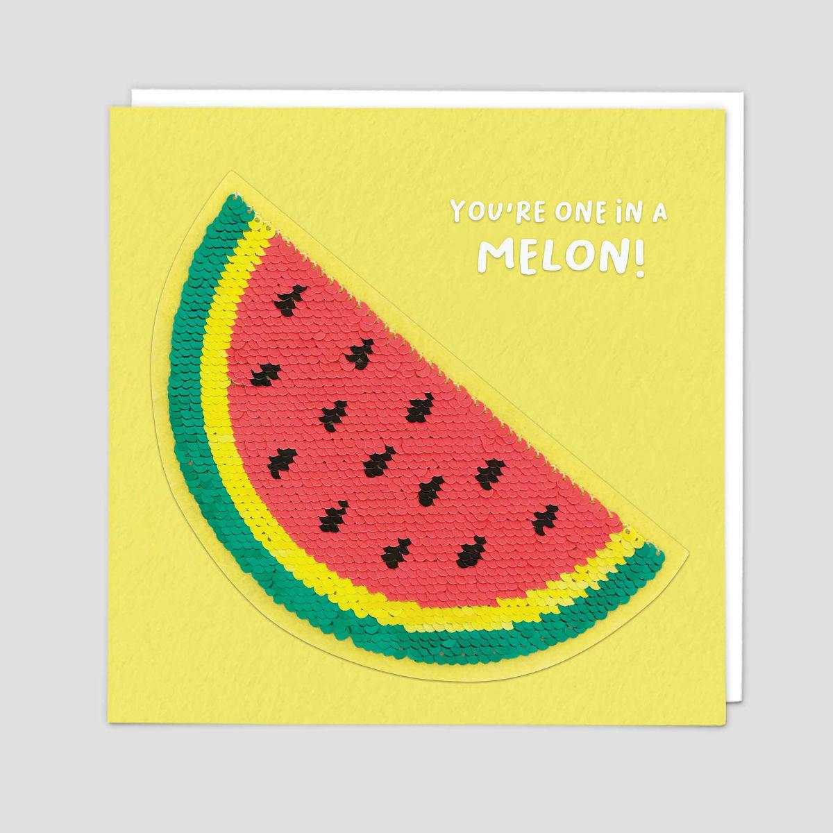 Watermelon Sequin Greeting Card by Redback   Restoration Yard