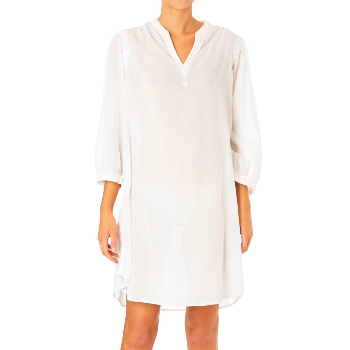 Arya Embroidered Nightshirt White by M.A.B.E | Restoration Yard