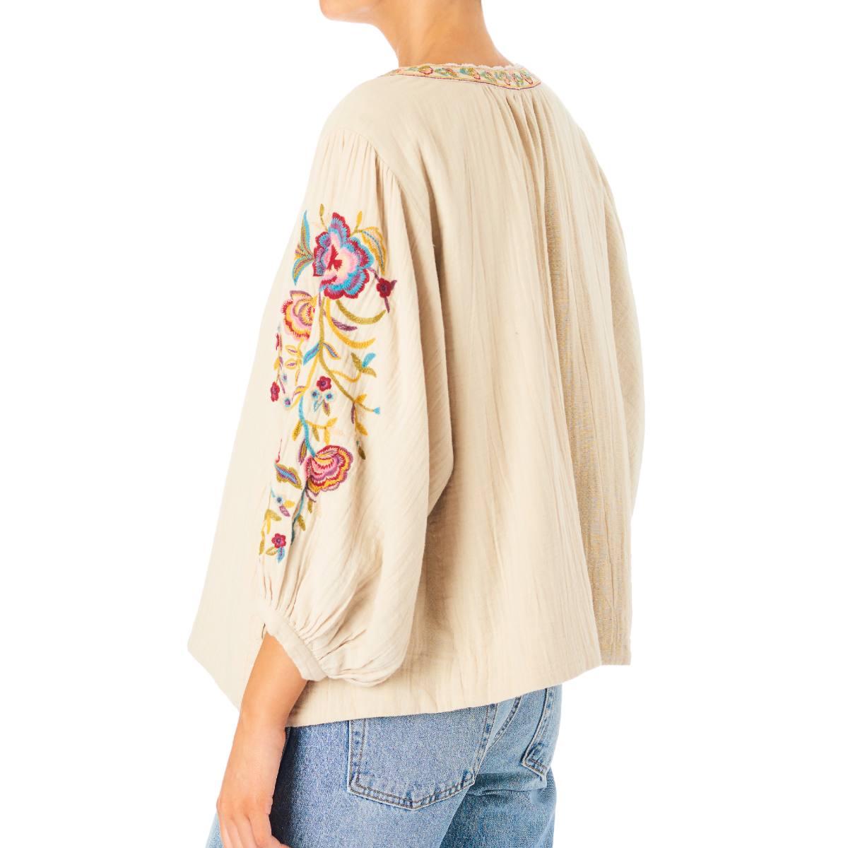 Carmel Embroidered Jacket Ecru by M.A.B.E | Restoration Yard