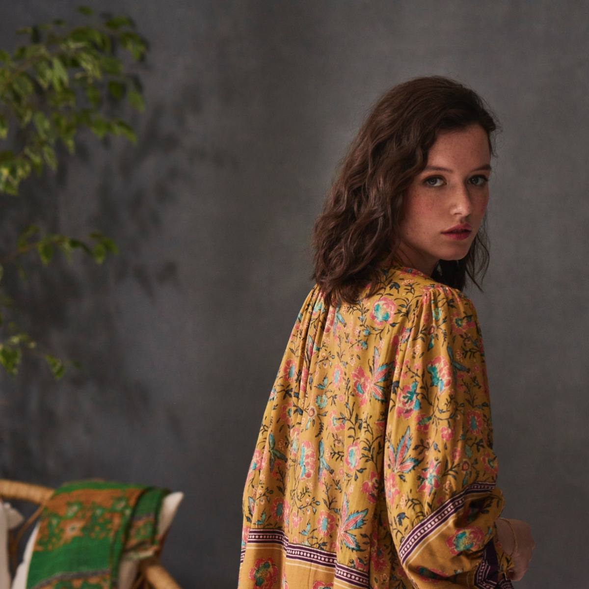 Dinah Print Jacket Mustard by M.A.B.E   Restoration Yard