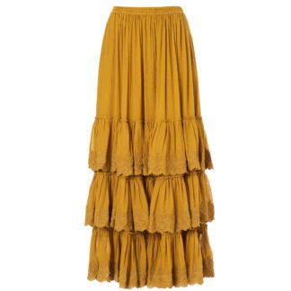 Ines Embroidered Skirt Mustard by M.A.B.E | Restoration Yard