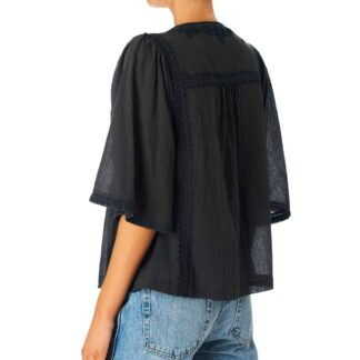 Mariella Embroidered Top Faded Black by M.A.B.E | Restoration Yard