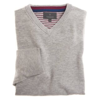 Vedoneire Wool Mix V-Neck Jumper in Calm Grey | Restoration Yard