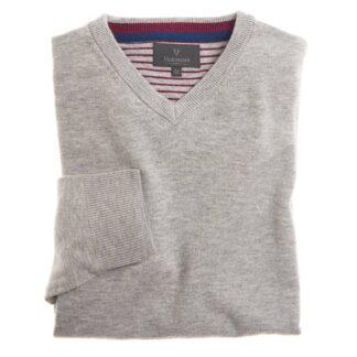 Vedoneire Wool Mix V-Neck Jumper in Calm Grey | Restoration Yard