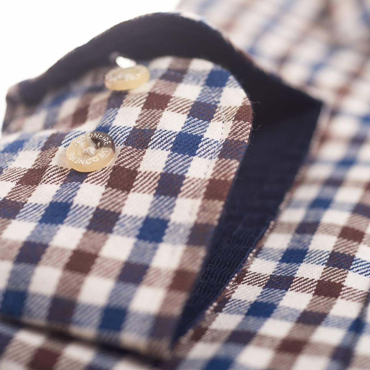 Vedoneire Shirt Brushed Cotton Plaid Navy Brown | Restoration Yard
