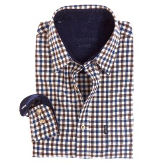 Vedoneire Shirt Brushed Cotton Plaid Navy Brown | Restoration Yard