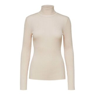 Costa Ribbed Rollneck Jumper Birch Selected Femme | Restoration Yard