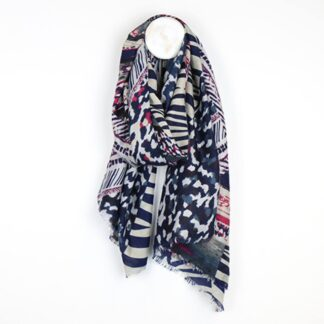 Animal Print Blue Mix Scarf by POM925 | Restoration Yard