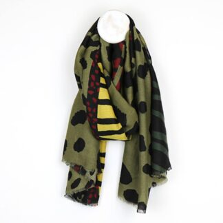Animal Print Khaki Mix Scarf by POM925 | Restoration Yard