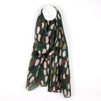Layered Oval Scarf in Khaki Pink and Green by Pom925 | Restoration Yard