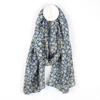 Layered Layered Hearts Scarf in Blue and Taupe by Pom925 | Restoration Yard