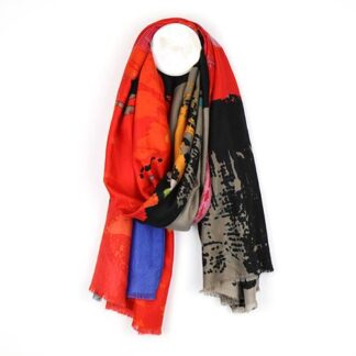 Splash Print Black Orange and Blue Scarf by POM925 | Restoration Yard