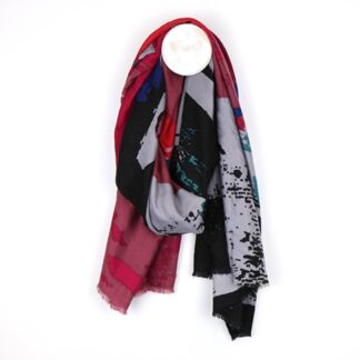 Splash Print Pink Black and Blue Scarf by POM925 | Restoration Yard