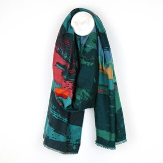Splash Print Teal and Green Scarf by POM925 | Restoration Yard