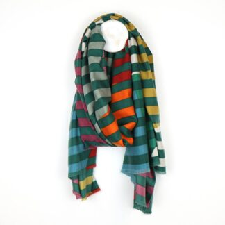 Stripe Circle Green Orange Grey Scarf by Pom925 | Restoration Yard