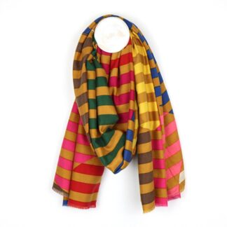 Stripe Circle Mustard Pink Yellow Scarf by Pom925 | Restoration Yard