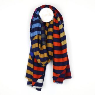 Stripe Circle Navy Orange Pink Scarf by Pom925 | Restoration Yard