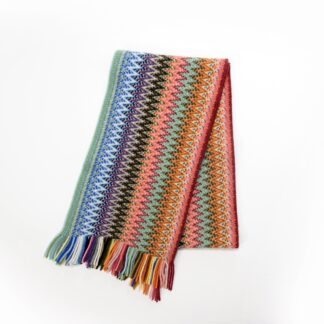 2 Ply Lambswool Multi Zigzag Scarf Aurora By S & T Knitwear | Restoration Yard