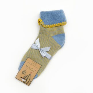 Joya Blue and Mustard Stripe Cuff Socks | restoration Yard