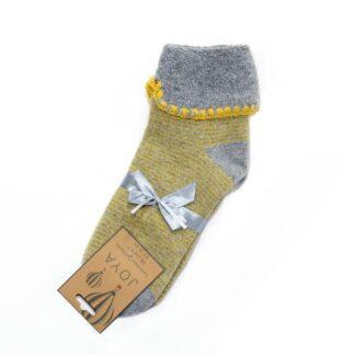 Joya Grey and Mustard Stripe Cuff Socks   Restoration Yard