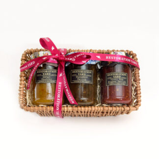 Trio Hampers Mango Chutney Cucumber Relish Fiery Red Pepper Relish by Restoration Yard | Restoration Yard