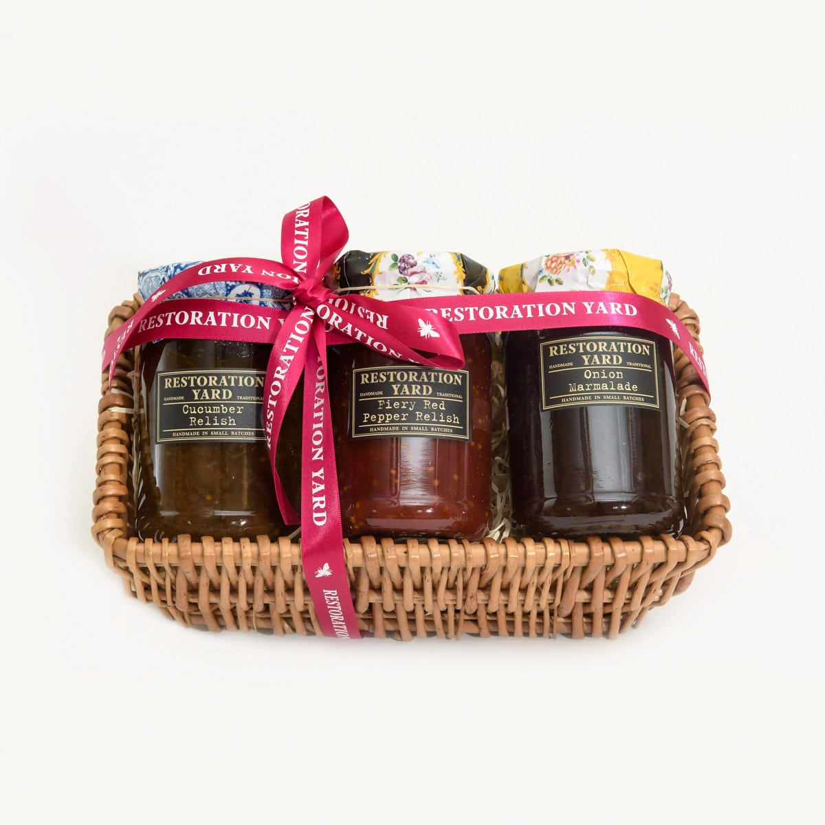 Trio Hampers Onion Marmalade Cucumber Relish Fiery Red Pepper Relish by Restoration Yard | Restoration Yard