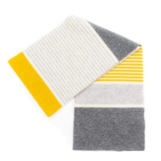 Grey Yellow Cream Palladio Wider Ness Scarf by Robert Mackie | Restoration Yard