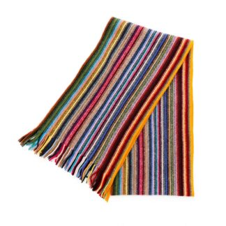 2 Ply Lambswool Multi Zigzag Scarf Rainbow | Restoration Yard