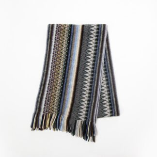 2 Ply Lambswool Multi Zigzag Scarf Cappuccino | Restoration Yard
