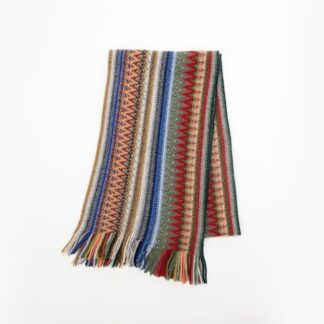 2 Ply Lambswool Multi Zigzag Scarf Dell | Restoration Yard
