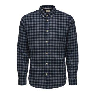 Slim Flannel Shirt Dark Blue Big Check   Restoration Yard